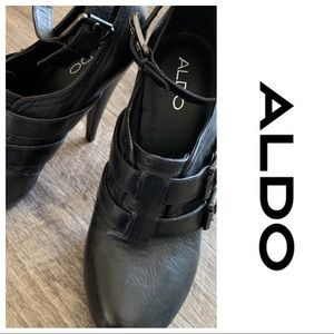 Aldo ankle strap black heels pumps